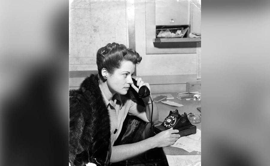Betty Bersinger is making a phone call.
