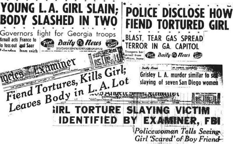 Multiple headlines from various newspapers telling the horror of the murder.