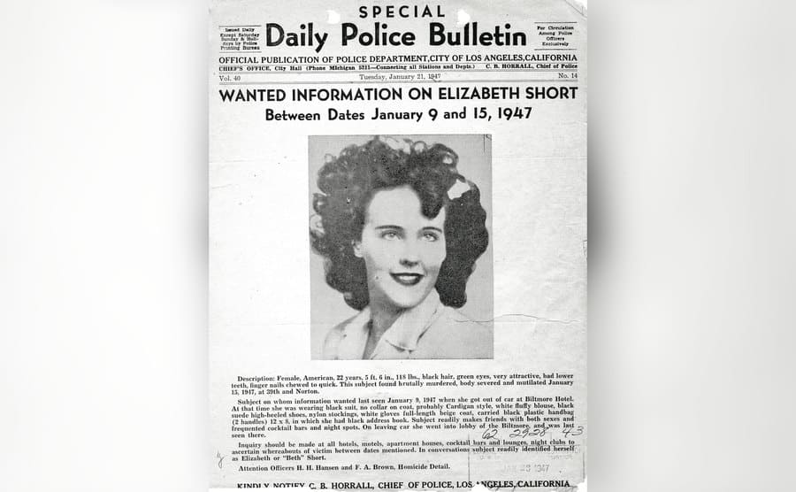 A newspaper clipping asking for any information about the murder case.