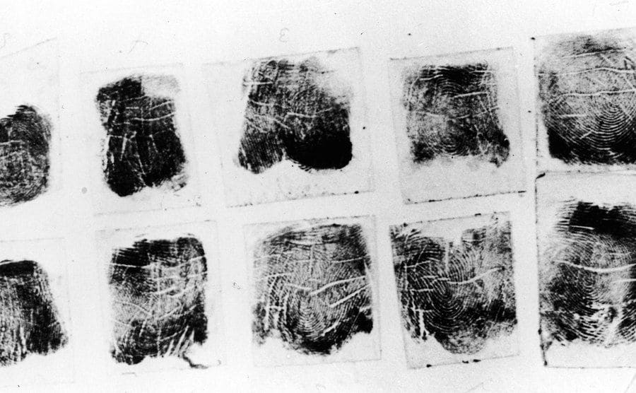 Photograph of fingerprints lifted from the corpse of aspiring American actress and murder victim Elizabeth Short.