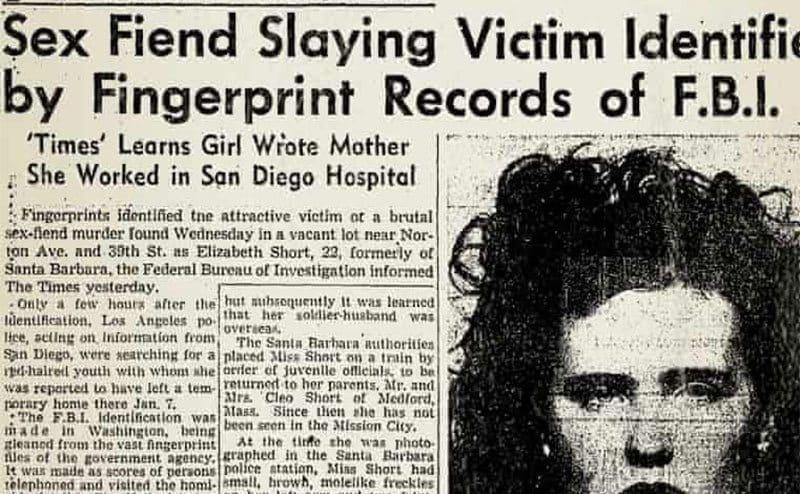 A newspaper clipping, headline 'Sex Fiend Slaying Victim Identified by Fingerprint Records of FBI'.