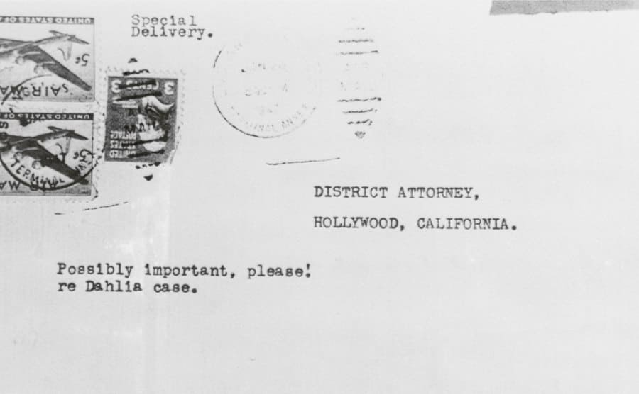 The anonymous lipstick smeared letter addressed to the District Attorney's office.