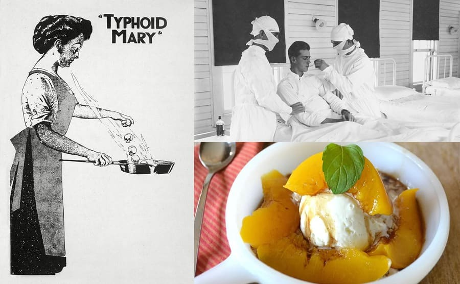A photograph of ice cream with peaches around it / An illustration of Typhoid Mary spreading germs through cooking / A flu ward with nurses giving a patient medicine