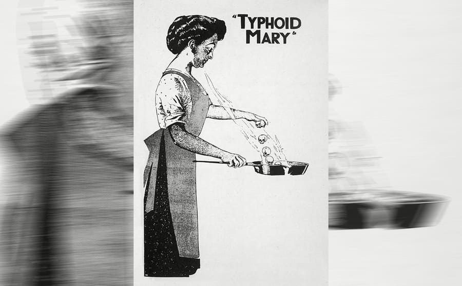 An illustration of Typhoid Mary spreading germs through cooking