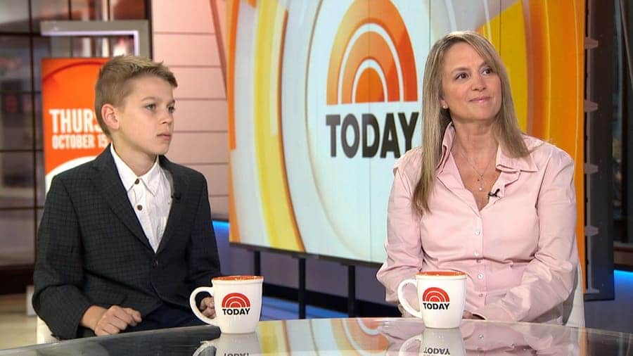 Photograph of Jennifer Connell and her Nephew Sean Tarala being interviewed on the Today Show.