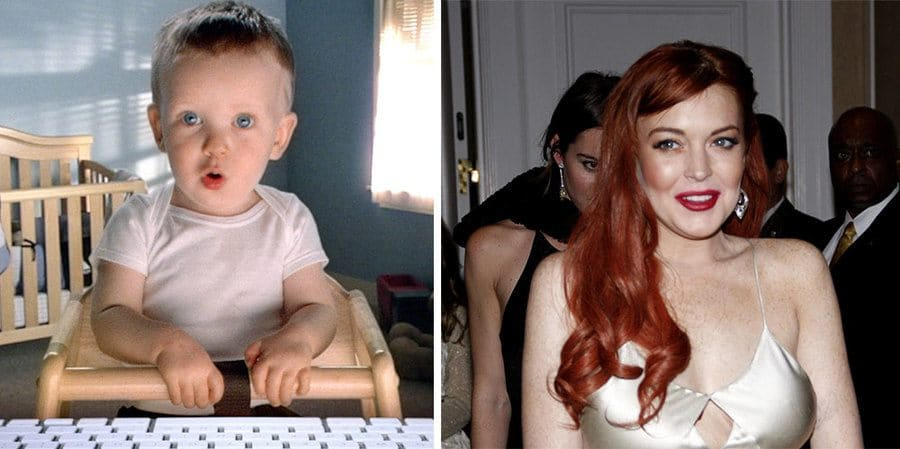 The baby from the e-trade commercial in a nursery / Lindsay Lohan at the Los Angeles premiere of 'Liz & Dick'