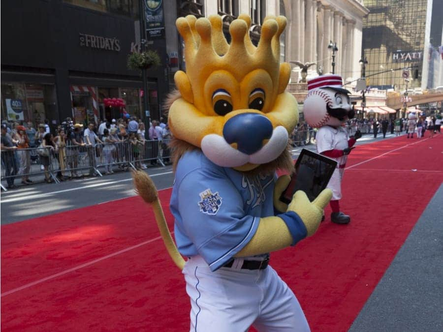 The Kansas City Royals mascot Sluggerrr posing on the red carpet during the MLB All-Star Game Red Carpet Show in New York.