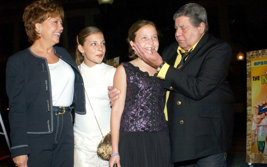 Jerry Lewis with wife SanDee (left) and daughter Sam (next to Jerry) and adopted daughter Danielle