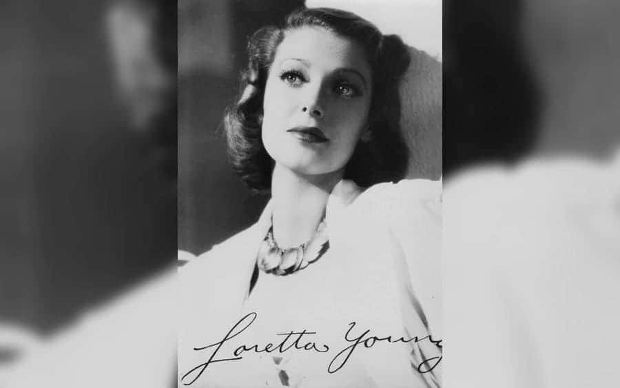 A picture of Loretta Young with her hand signature (1913-2000)