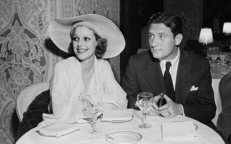 Spencer Tracy and Loretta Young photographed at the Coconut Grove, at the Ambassador Hotel.