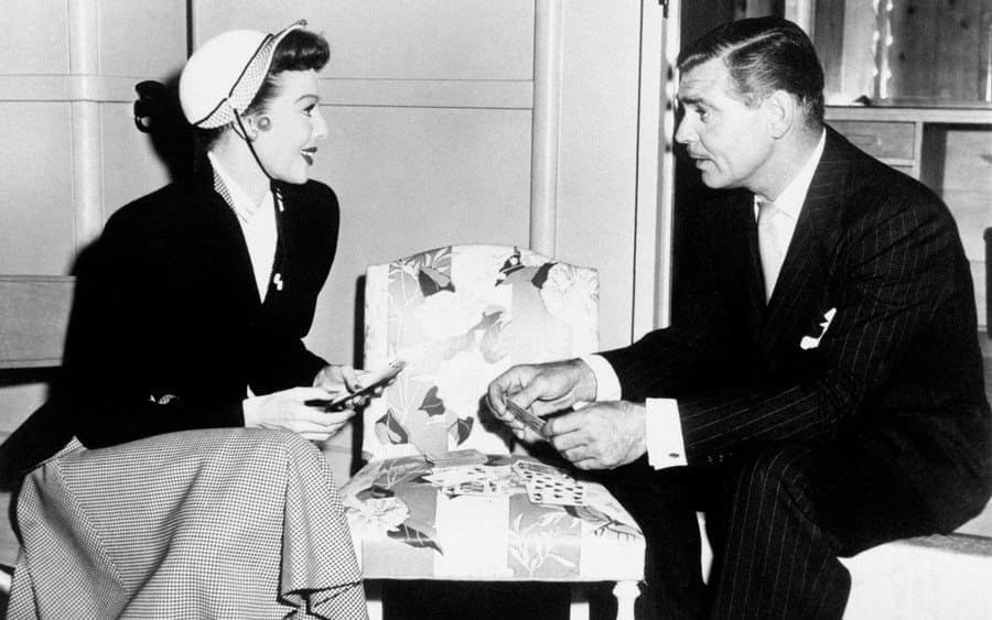 Loretta Young and Clark Gable on the set of Key to the City