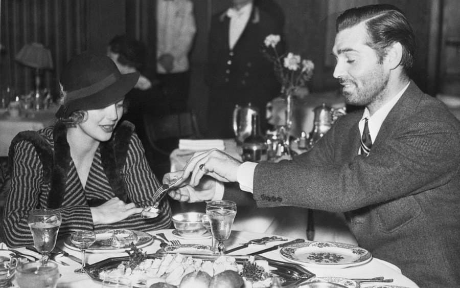 Loretta Young and Clark Gable at Lunch