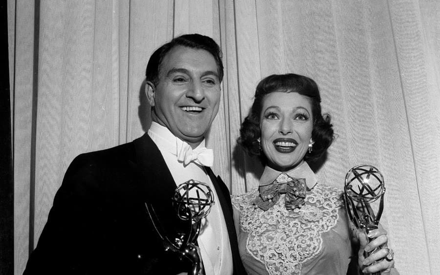 Danny Thomas and Loretta Young pose with their awards during the 7th Emmy Awards in Los Angeles,CA.