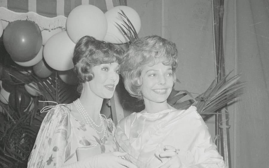 Loretta Young with her look-alike daughter, Mrs. Joe Tinney.