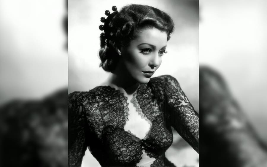 Loretta Young in a scene from the movie