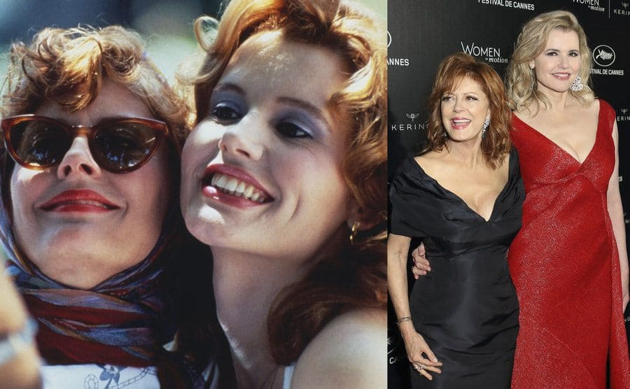 Susan and Geena in Thelma and Louise / Susan and Geena today