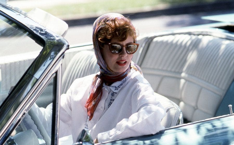 Susan Sarandon sitting in the convertible