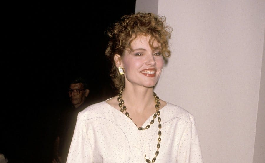 Geena Davis on the red carpet in 1989