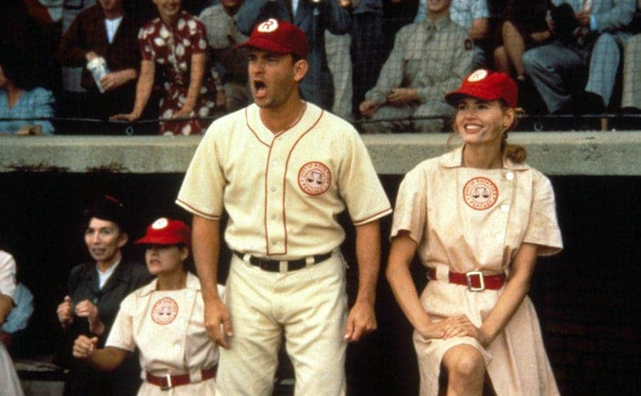 Tom Hanks and Geena Davis in the dugout in a scene from A League of Their Own