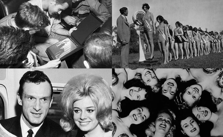 US army soldiers / Miss America contestants / Hugh Hefner and Cynthia Maddox / Pinup girls.