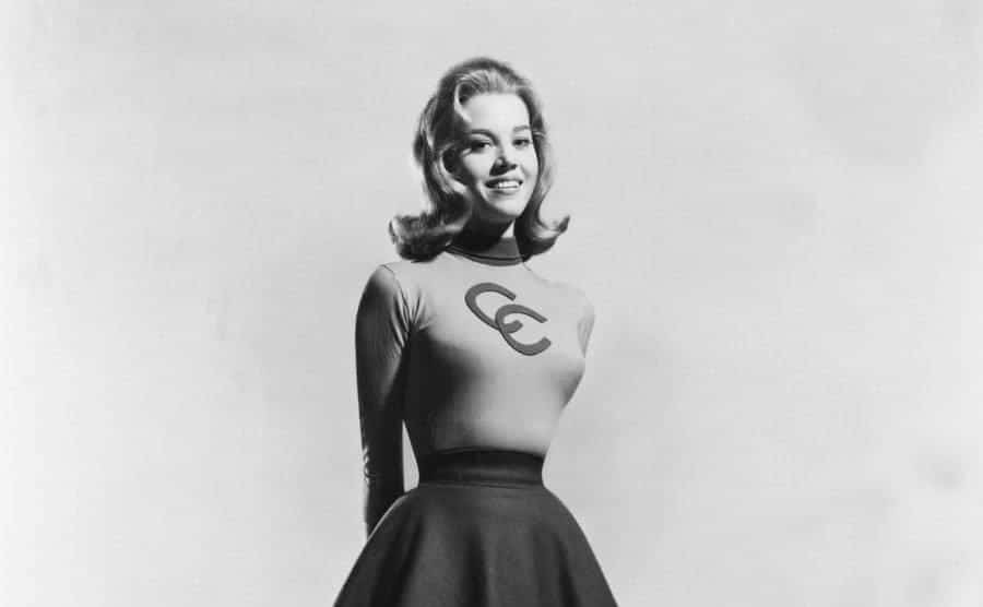 A portrait of actress Jane Fonda in a cheerleading-type outfit