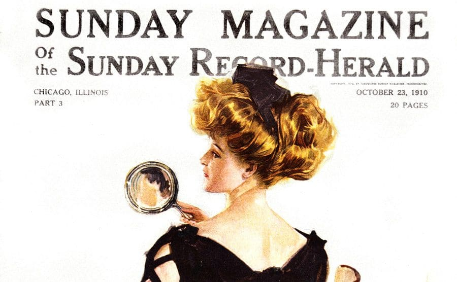 A drawing of a 'Christy Girl' on the cover of the Sunday Magazine.