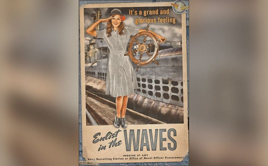 A poster of a pinup girl encouraging men to join the US Navy.