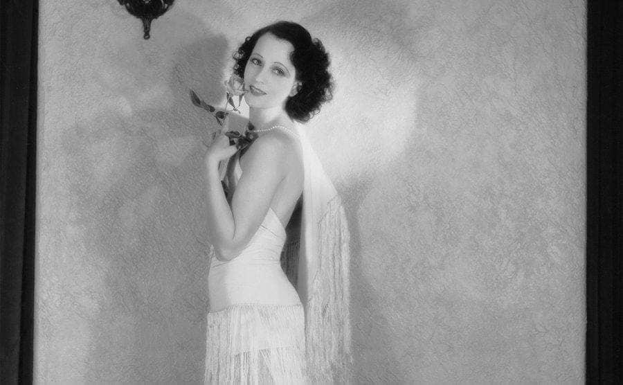 Actress Juliette in Flapper Style Dress