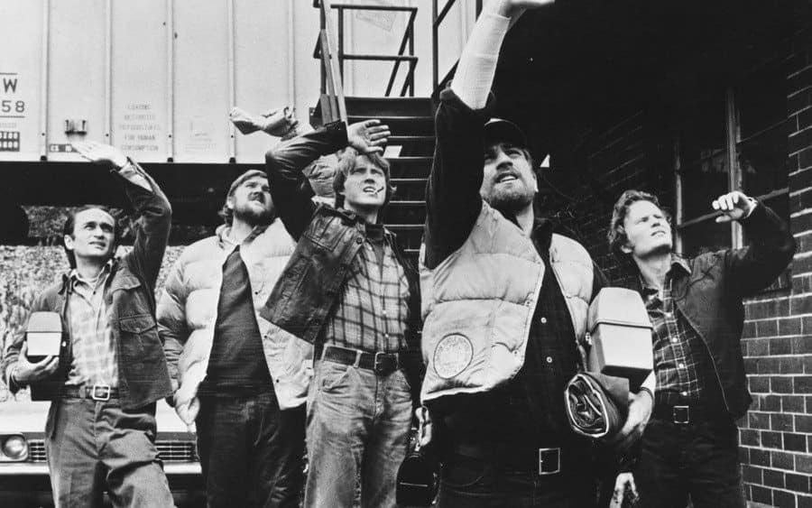 John Cazale, Chuck Aspegren, Christopher Walken, Robert De Niro, John Savage in the 1978 film The Deer Hunter