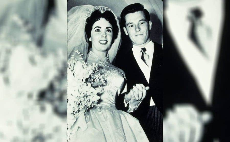 Nicky Hilton and Elizabeth Taylor at their wedding in 1950