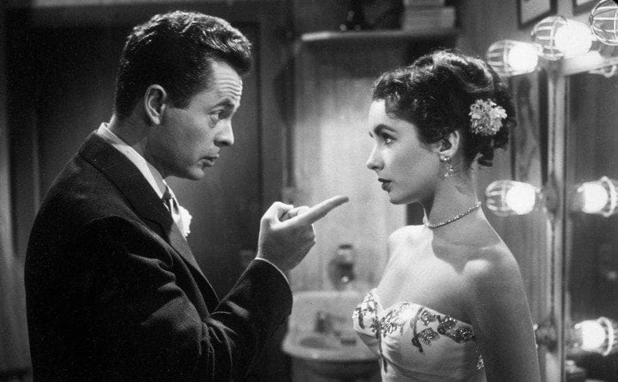 Larry Parks reprimanding Elizabeth Taylor in the film 'Love Is Better Than Ever.'