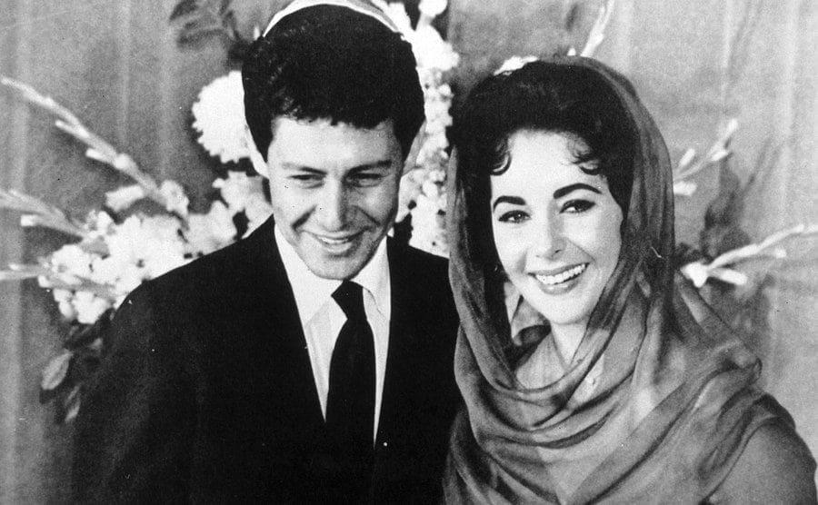 Elizabeth Taylor and Eddie Fisher at their wedding