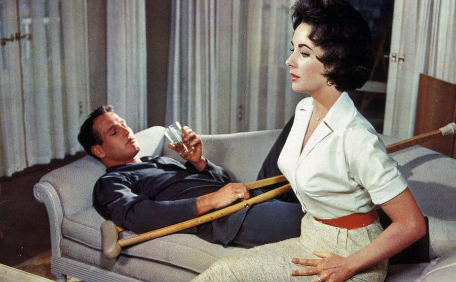 Elizabeth Taylor with Paul Newman in a scene from Cat On A Hot Tin Roof, 1958.