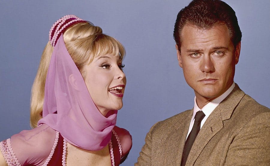 Jeannie talks to Larry Hagman in a promo shot for the television series.