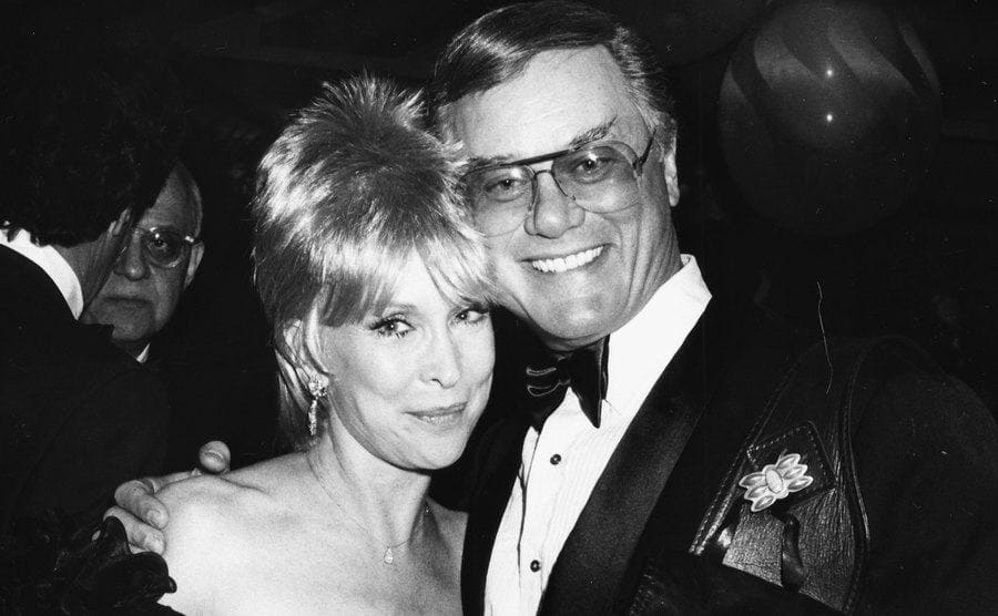Barbara Eden and Larry Hagman attend a charity benefit together.