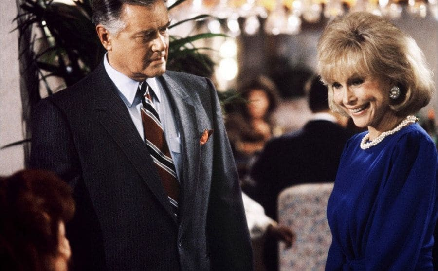 Larry Hagman and Barbara Eden are featured in a restaurant scene from the TV show.