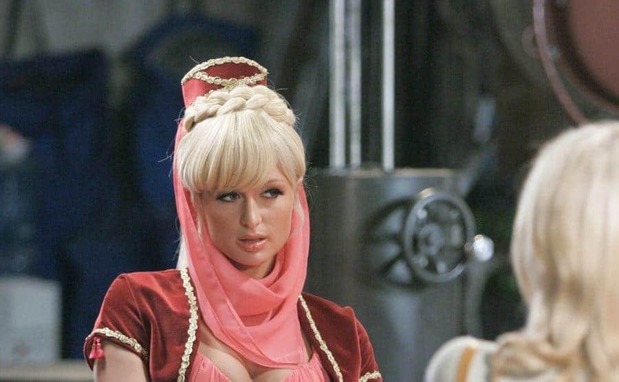 Paris Hilton as Barbara Eden wearing the Jeannie costume.