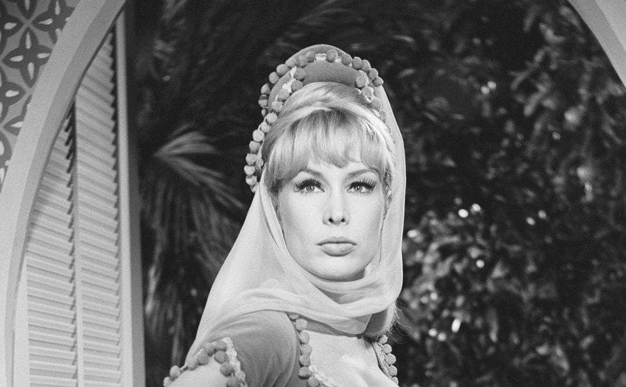 Barbara Eden looks at the camera on the set of the television series.