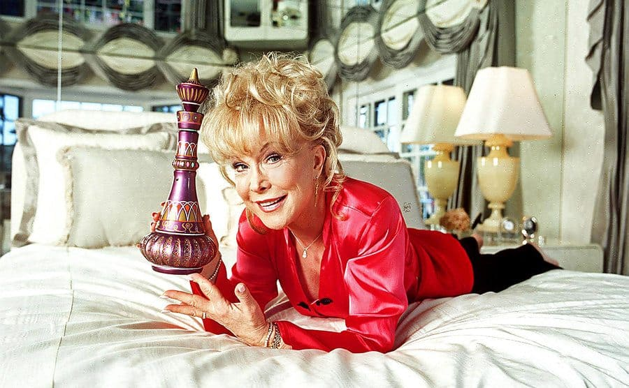 Barbara Eden is holding a 'magic lamp' in her bedroom in Los Angeles.