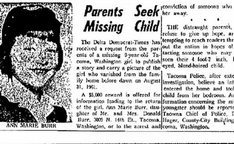 A newspaper clipping with a picture of Ann Marie.