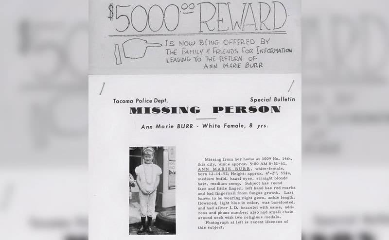 A five thousand dollars reward sign to find Ann Marie.