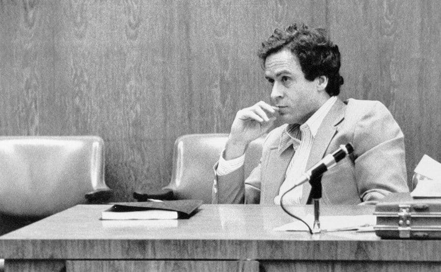 Bundy watches the jury intently during his trial.