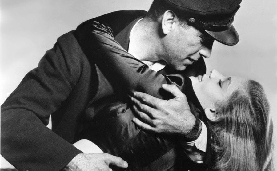 Humphrey Bogart and Lauren Bacall on the set of the film.