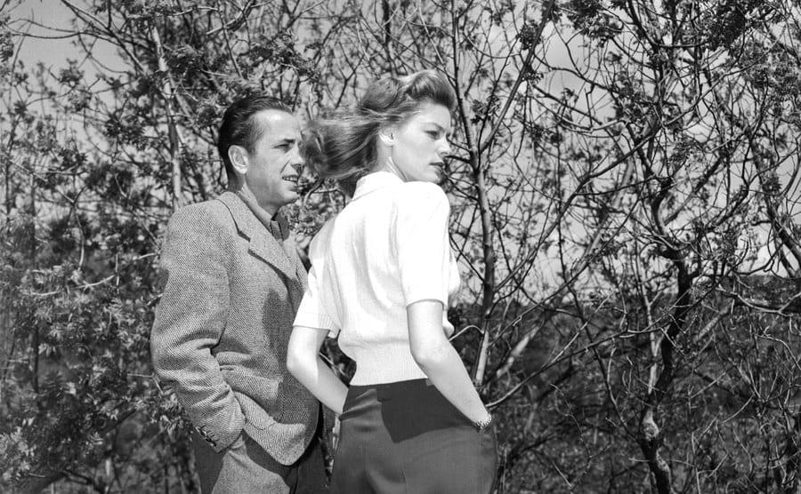 Humphrey and Bacall on a movie set.