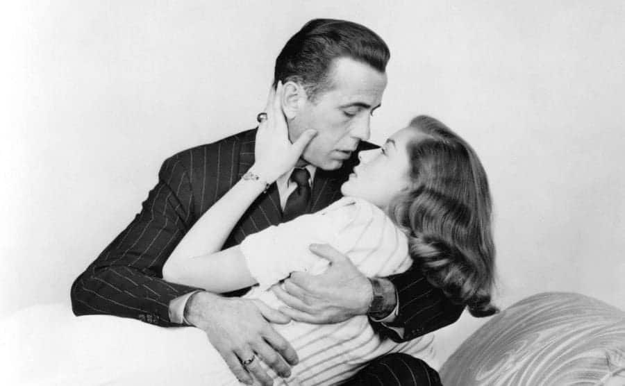 Humphrey Bogart and Lauren in a scene from the film.