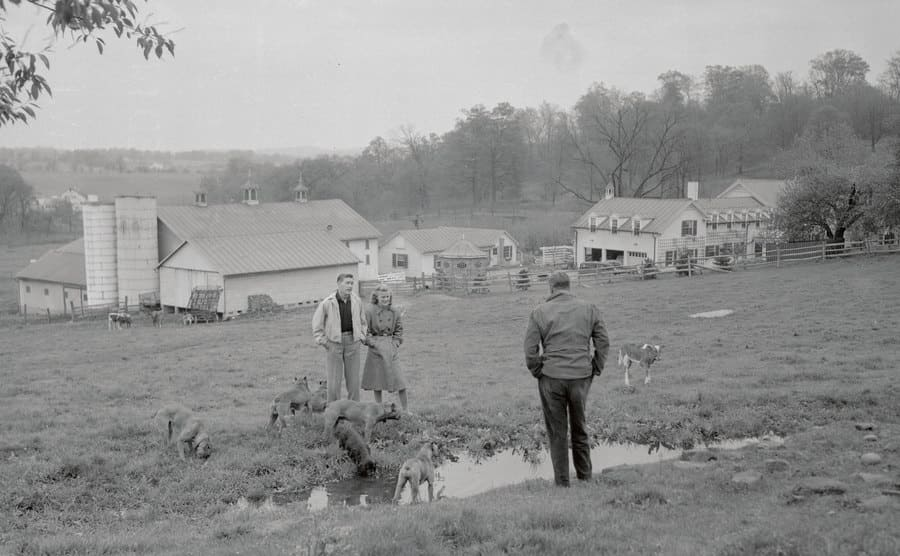 Louis Bromfield with his daughter and a guest at Malabar Farm.