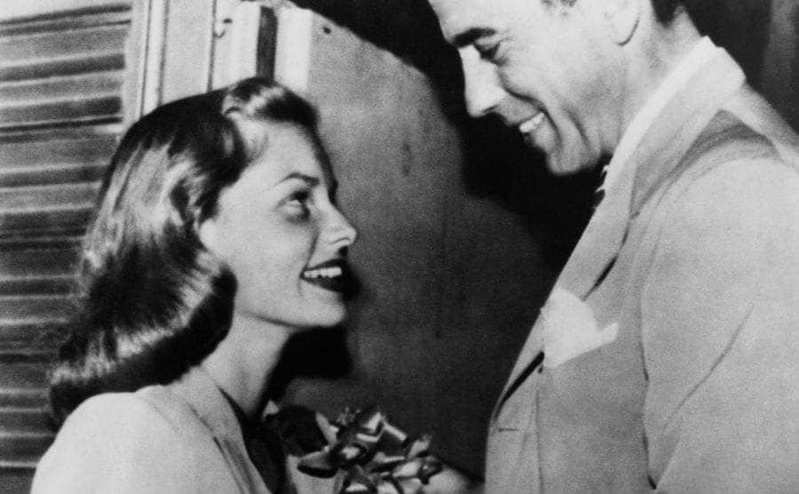 Lauren Bacall and Humphrey Bogart on their wedding day.
