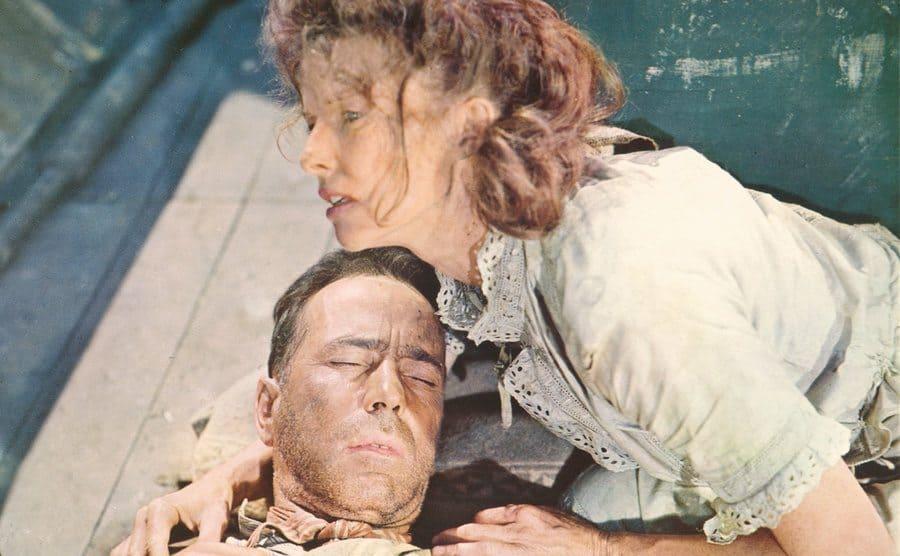 Katharine Hepburn and Humphrey Bogart in a scene from the film.