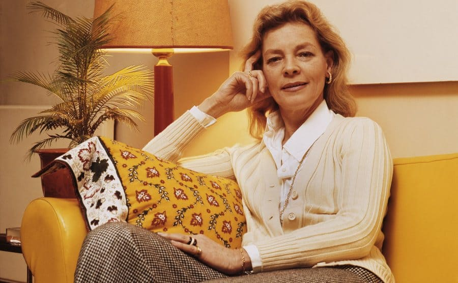 A portrait of Lauren Bacall at home.