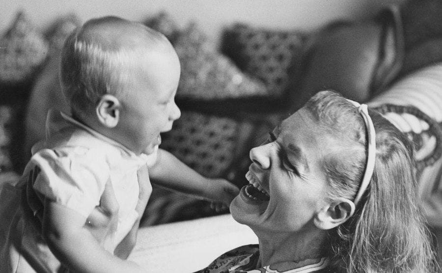 Lauren Bacall with her baby son.